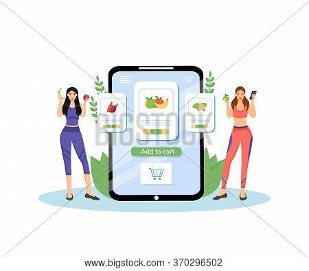 Healthy Nutrition Plan Flat Concept Vector Illustration. Female Nutritionists, Dieticians 2d Cartoon