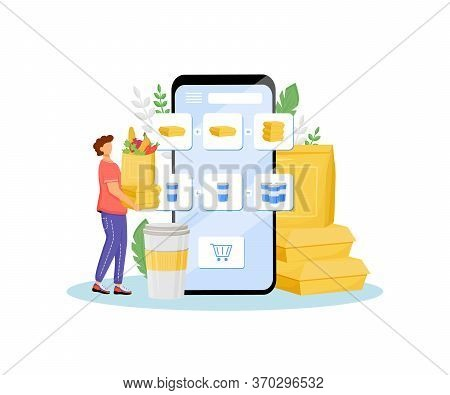 Online Grocer Special Offer Flat Concept Vector Illustration. Products Buyer, Customer With Greens A