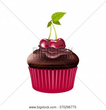 Chocolate Muffin With Cherry Realistic Vector Illustration. Baked Dessert, Cupcake With Berries And