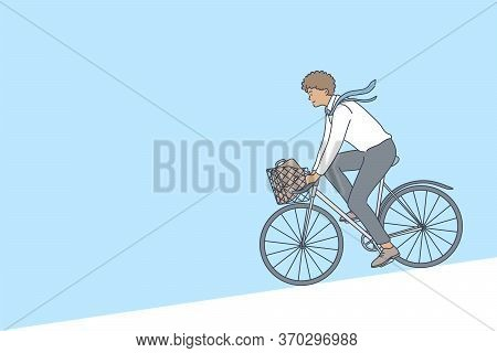Cycling, Business, Weekend Concept. Young Afro American Businessman Clerk Manager Cartoon Character