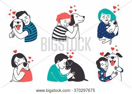 People And Pets Set. Cartoon Happy Kids Love, Hug And Petting Dogs, Smiling Persons And Beautiful Co