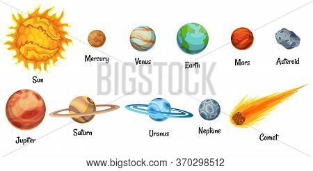 Cartoon Solar System Planets. Astronomical Observatory Small Planet. Astronomy Galaxy Space. Sun Mer