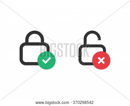 Locked And Unlocked Icon. Correct And Wrong Status Of Padlock. Protection Sign. Security Icon. Priva