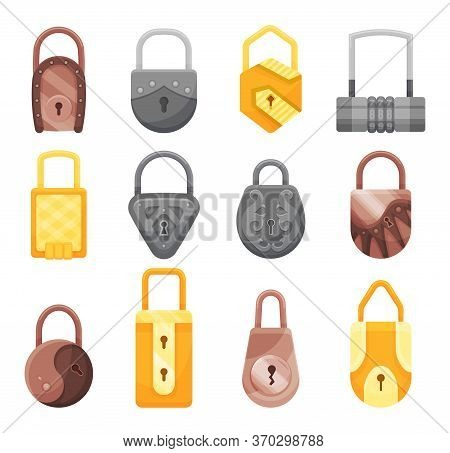 Padlocks Collection. Flat Padlock Icons For Protection Privacy, Web And Mobile Apps. Cartoon Closed