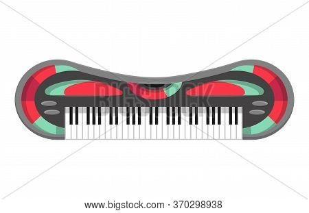 Musical Keyboard Instrument. Isolated Image Of A Styled Color Keyboard. Vector Illustration - Musici