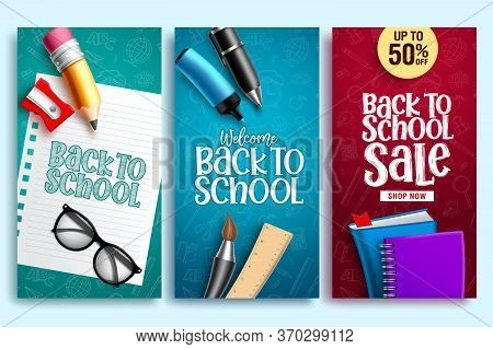 Back To School Vector Web Poster. Back To School Education Banner Design With Colorful School Elemen