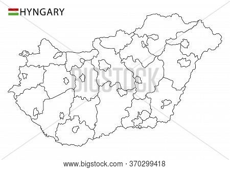 Hungary Map, Black And White Detailed Outline Regions Of The Country.