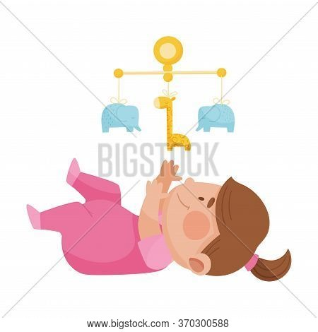 Baby Girl Lying On The Floor Looking Up At Rattle Toy Vector Illustration