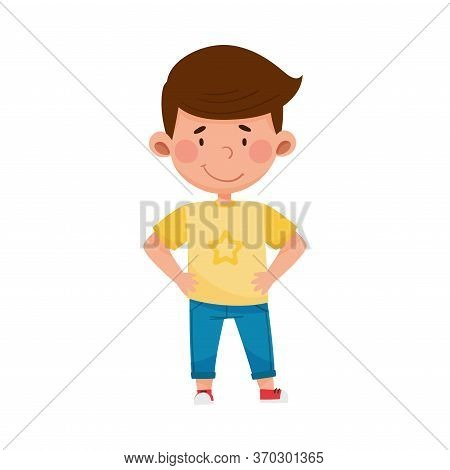 Dark-haired Boy Standing With His Hands On Hips And Smiling Vector Illustration