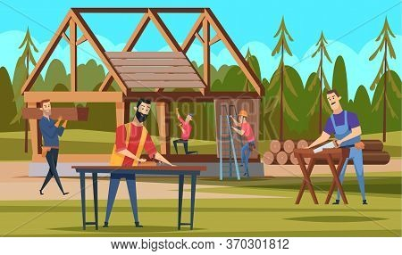 Wooden Roof Builders. Professional Carpenters Team Making Building Handyman Craftsman Working Vector
