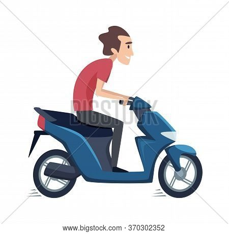 Man Ride On Scooter. Male Drives Motorbike, Isolated Flat Rider Vector Character. Illustration Drive
