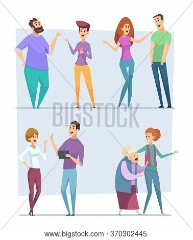 Dialogue People. Expression Characters Pointing Top Speech Persons Conversation Crowd Vector Messeng