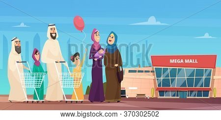 Arabic Family Shopping. Muslim Happy Characters Going To Market Saudi Clothing Vector Cartoon Backgr
