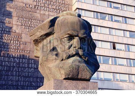 Chemnitz, Germany - May 8, 2018: Karl Marx Monument In Public Space Of Chemnitz, Germany. The Monume