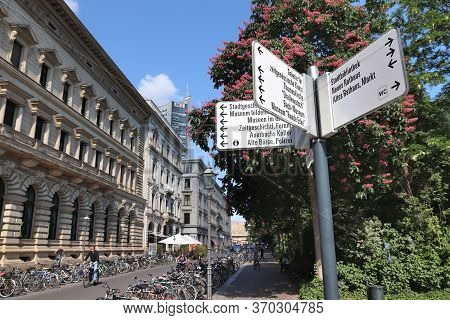 Leipzig, Germany - May 9, 2018: Local Landmarks Directions Sign In Leipzig, Germany. Leipzig Is The