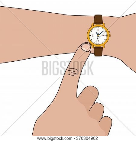 Yellow Golden Stylish Watch With Leather Strap On Hand. Vector Flat Illustration
