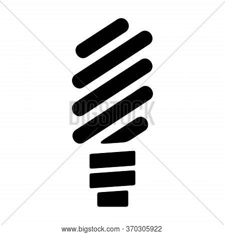 Fluorescent Lightbulb Icon In Line Style. Energy Saving Sign. Eco Friendly Bulb Symbol.