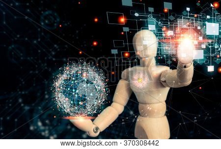 Artificial Intelligence Or Wooden Puppets Connecting To Big Data Global Network Everywhere In The Wo