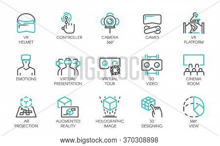 Big Set Of Line Icons Of Augmented Reality Digital Ar Technology Future. 15 Vector Labels Isolated O