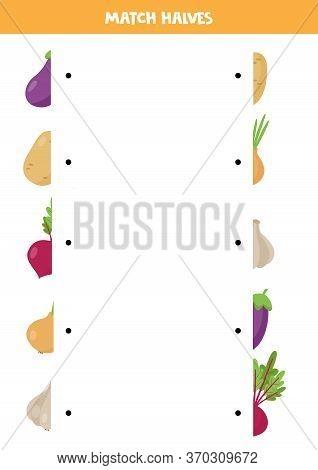 Find The Half Of Each Vegetable. Funny Worksheet For Kids.