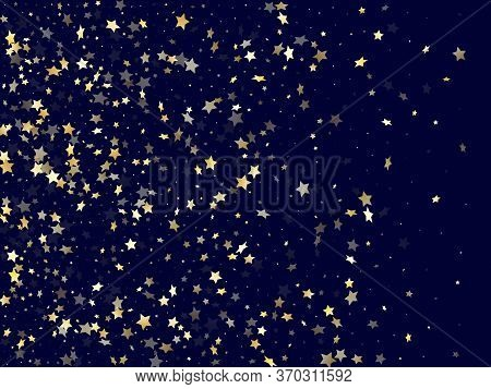 Gold Falling Star Sparkle Elements Of Glitter Gradient Vector Background. Glittering Confetti Gold S
