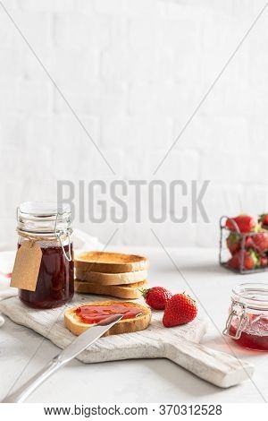 Healthy Breakfast With Natural Organic Strawberry Jam Or Marmalade And Toasts On White Background. S