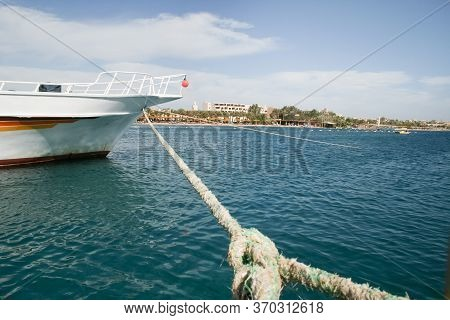 Moored Yacht. Front View Of Boat Moored In A Marina. Egypt