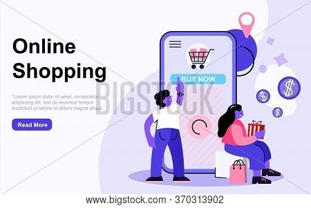 Landing Page Template Online Shopping Concept With People Characters. Modern Flat Design Web Page De
