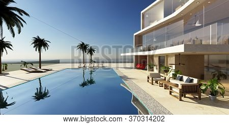 3d Illustration Of Modern Luxury House With Private Swimming Pool. Early Morning Scene With Chill Ou