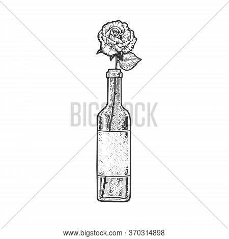 Rose Flower In A Bottle Of Wine Sketch Engraving Vector Illustration. T-shirt Apparel Print Design.