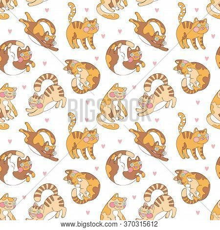 Cute Funny Crazy Cat. Cartoon Animal. Seamless Vector Pattern (background).