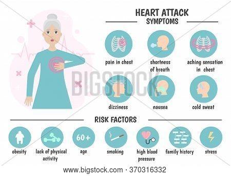 Medical Infographic Heart Attack. Symptoms, Risk Factors. Vector Illustration.