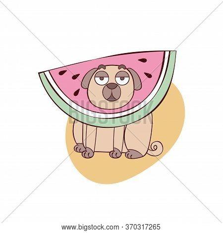 Cute Pug Dog. Pug Puppy. Cartoon Animal. Watermelon Slice. Summer Fruit. Isolated Vector Object On W