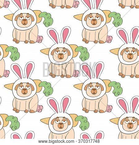 Bunny. Bunny Ears. Carrot. Cute Cartoon Pug. Pug Puppy. Cartoon Animal. Seamless Vector Pattern (bac