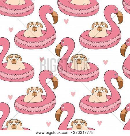 Lifebuoy. Flamingo. Cute Cartoon Pug. Pug Puppy. Cartoon Animal. Seamless Vector Pattern (background