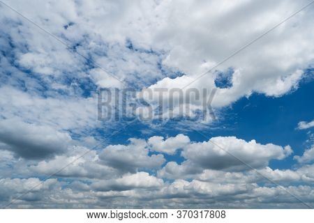 White Cumulus Clouds On Blue Sky, Beautiful Weather Can Use As Backgrounds