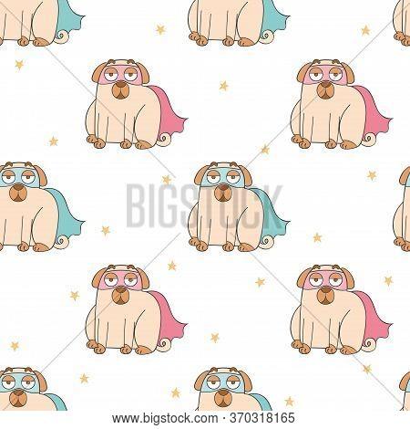 Superhero. Mask And Cloak. Cute Cartoon Pug. Pug Puppy. Cartoon Animal. Seamless Vector Pattern (bac