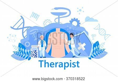 Therapist Concept Vector Health Care, Medical Website, Banner. The Family Doctor Treats The Patient.