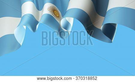 Argentina Waving Flag On Blue Sky For Banner Design. Argentina National Waving Flag Isolated On Blue