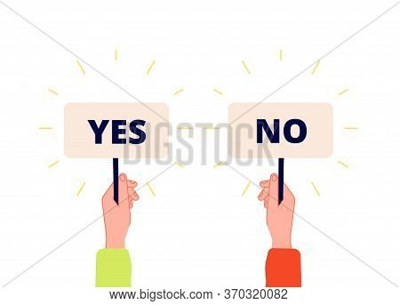 Yes No Banner. Choice, Vote Icons. Businessman Hand Holding Plates With Positive And Negative Sign.