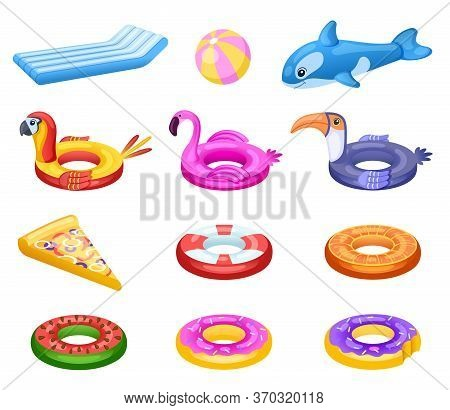 Inflatable Float. Cute Sea Water Mattress, Summer Pool Party Accessories. Kids Rubber Ring, Swimming