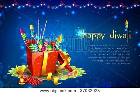 illustration of colorful firecracker in gift box for Diwali