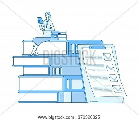 Woman Reading. Lover Of Books, Magazines. Literature Teacher And List. Self Education, Girl Learns F