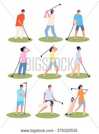 Golf Playing. Cartoon Fun Golfing Players, Sport Time. Isolated Golfers In Uniform Sporting Outfits.