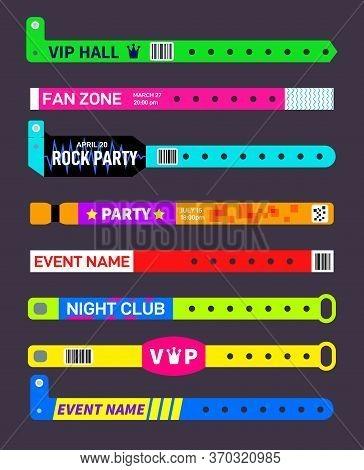 Event Bracelets. Party Festival Entrance Paper Wristbands. Concert Invitation Ticket Mockup. Music E
