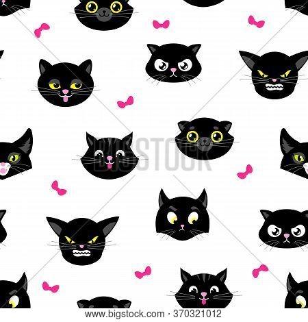 Cat Pattern. Halloween Cats Seamless Texture. Black Kitten Heads With Yellow Eyes. Kitty Fabric Prin