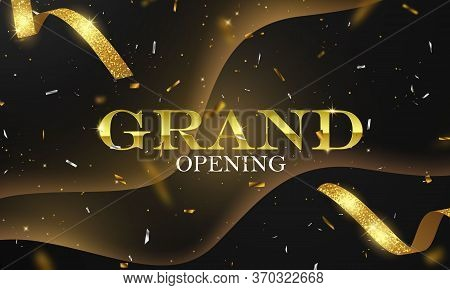 Grand Opening Card With Golden Ribbon Background Glitter Frame Template.