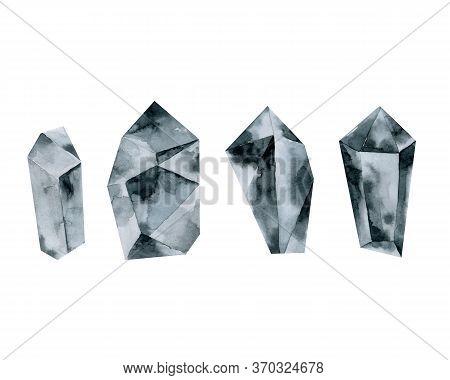 Gray Crystals, Indigo Stones, Diamond, Watercolor Drawing Hand Drawing,
