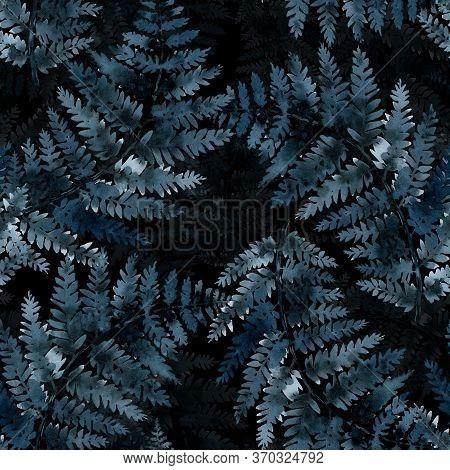 Fern Branch, Indigo Blue Watercolor Hand Drawing, Seamless Pattern