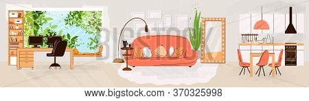 Vector Flat Set Of Home Living And Work Interiors - Living Room Interior, Kitchen, Office Work Place